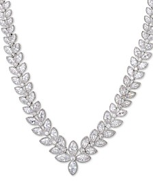 "Giani Bernini Cubic Zirconia Marquise 17"" Statement Necklace in Sterling Silver, Created for Macy's"