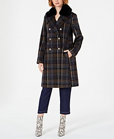 Double-Breasted Plaid Coat with Faux-Fur-Collar