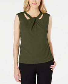 Kasper Criss-Cross-Neck Top