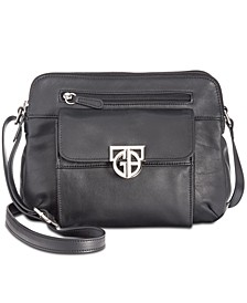 Hardware Double-Zip Nappa Leather Crossbody, Created for Macy's