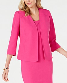 Collarless Stretch-Crepe Jacket