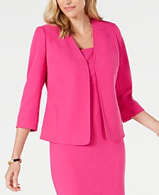 Kasper Collarless Stretch-Crepe Jacket