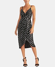 Dot-Print Sequinned Faux-Wrap Dress