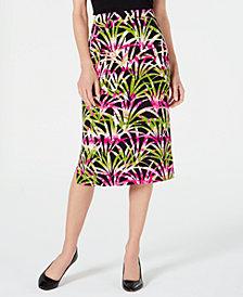 Kasper Tropical Leaves Printed Skirt