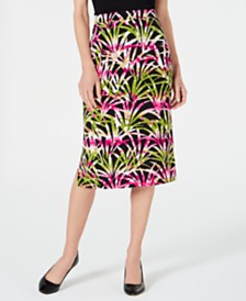 Kasper Tropical Leaves Printed Skirt