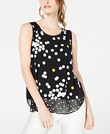 Petite Printed Woven-Hem Sleeveless Top, Created for Macy's