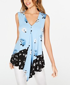 Alfani Floral-Print Asymmetrical Top, Created for Macy's