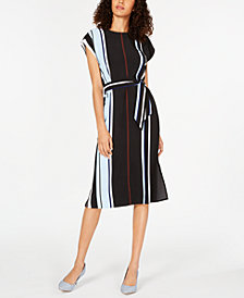 Alfani Striped Tie-Waist Midi Dress, Created for Macy's