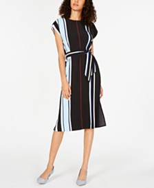 Alfani Petite Belted Striped Midi Dress, Created for Macy's