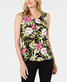 Petite Floral-Print Pleated Top