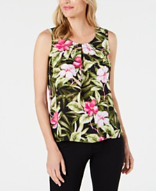 Kasper Petite Floral-Print Pleated Top