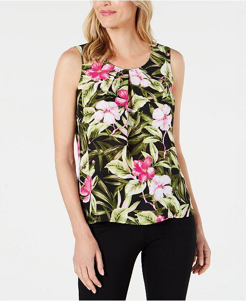 Kasper Pleated Floral-Print Top