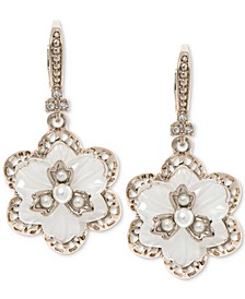 Gold-Tone Crystal & Imitation Mother-of-Pearl Flower Drop Earrings