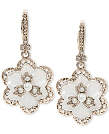 Marchesa Gold-Tone Crystal & Imitation Mother-of-Pearl Flower Drop Earrings
