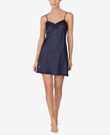 Lauren Ralph Lauren Lace-Trim Satin Chemise Nightgown