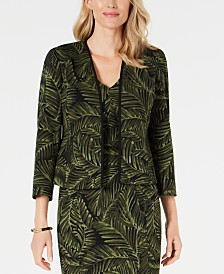 Kasper Collarless Printed 3/4-Sleeve Blazer