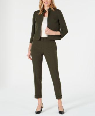 Stand-Collar 3/4-Sleeve Blazer