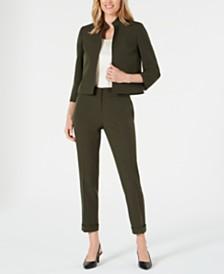 Kasper Stand-Collar Blazer & Ankle Pants