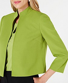 Petite Stand-Collar Open-Front Jacket