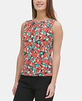 237d4017b Calvin Klein Floral Pleat-Neck Top