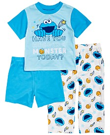 AME Toddler Boys 3-Pc. Cookie Monster Pajama Set