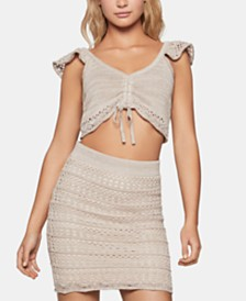 BCBGeneration Cotton Crochet-Trim Crop Top