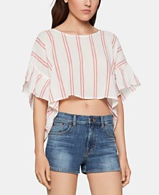 BCBGeneration Cotton Flutter-Sleeve Crop Top