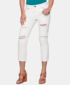 BCBGeneration Cotton Ripped Boyfriend Jeans