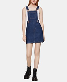 BCBGeneration Cotton Denim Overall Dress