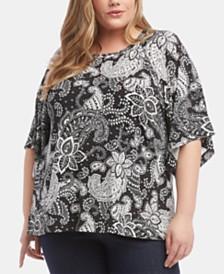 Karen Kane Plus Size Printed Flare-Sleeve Top