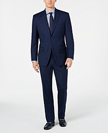 by Andrew Marc Men's Modern-Fit Stretch Blue Birdseye Suit