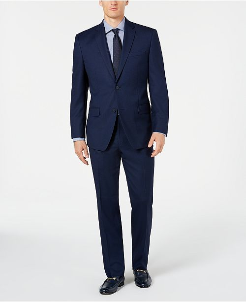 Marc New York by Andrew Marc Men's Modern-Fit Stretch Blue Birdseye Suit