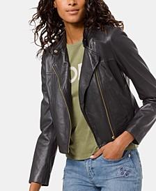 Leather Moto Jacket, Regular & Petite Sizes