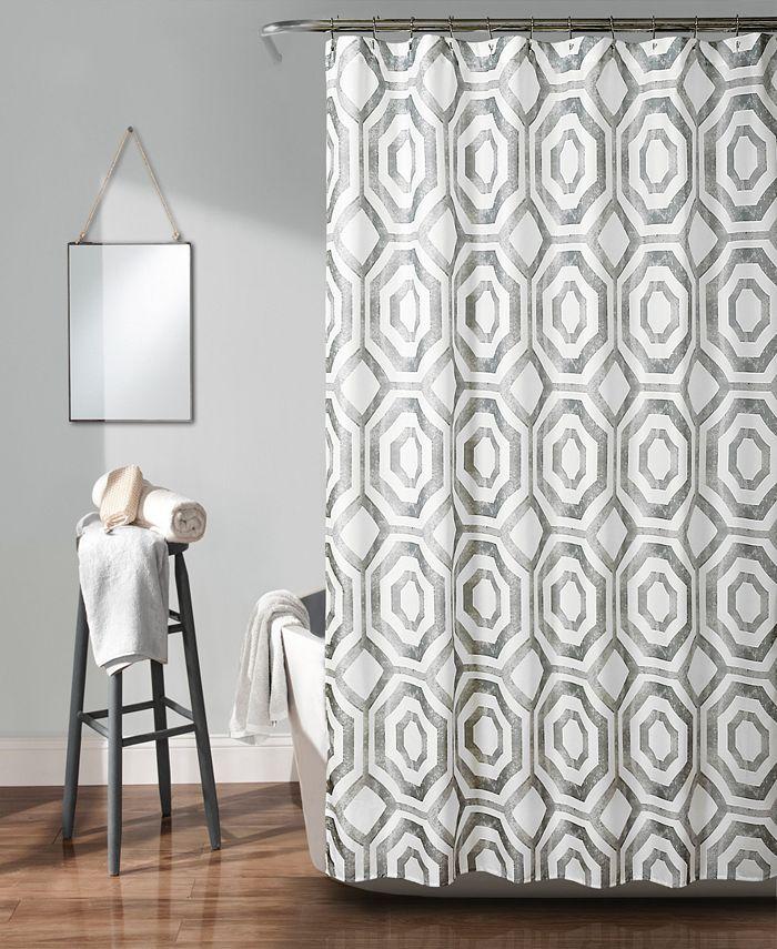 "Lush Décor - Octagon Blocks 72"" x 72"" Shower Curtain"