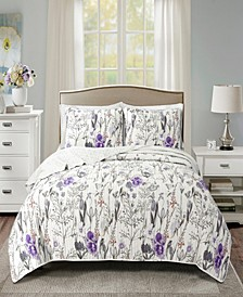 Adalia Reversible 3-Piece Full/Queen Quilt Set