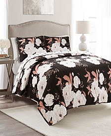 Zinnia Floral 3Pc King Quilt Set