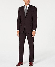 by Andrew Marc Men's Modern-Fit Stretch Burgundy Textured Suit