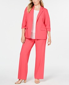 Calvin Klein Plus Size Ruched Blazer, Lace-Trim Top & Straight-Leg Pants