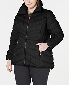 Plus Size Hooded Packable Puffer Coat