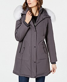 Fox-Fur-Trim Hooded Down Parka Coat
