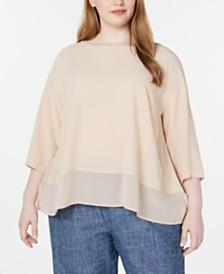Eileen Fisher Plus Size Silk 3/4-Sleeve Top