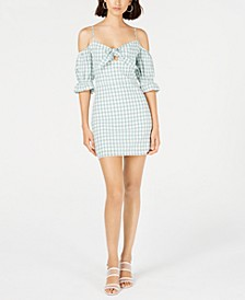 Mia Cotton Gingham-Print Mini Dress