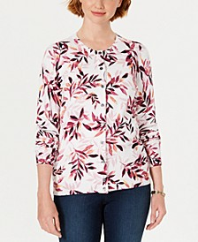 Petite Leaf-Print Cardigan, Created for Macy's