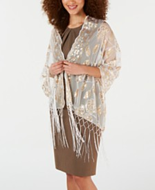 I.N.C. Floral Sequin Mesh Wrap, Created for Macy's