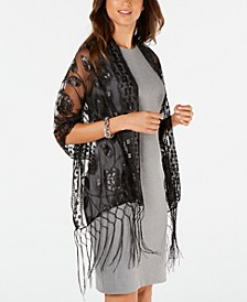 INC Floral Sequin Mesh Wrap, Created for Macy's