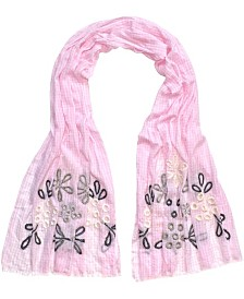 Fraas Gingham Floral Oblong Scarf