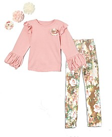 Little and Big Girls Interchangeable Flower Top and Floral Print Leggings