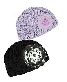Crochet Flower Beanie Hat Set Of 2