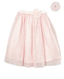 Big Girls Longer Length Skirt with Attached Vintage Lace Flower and Accessory
