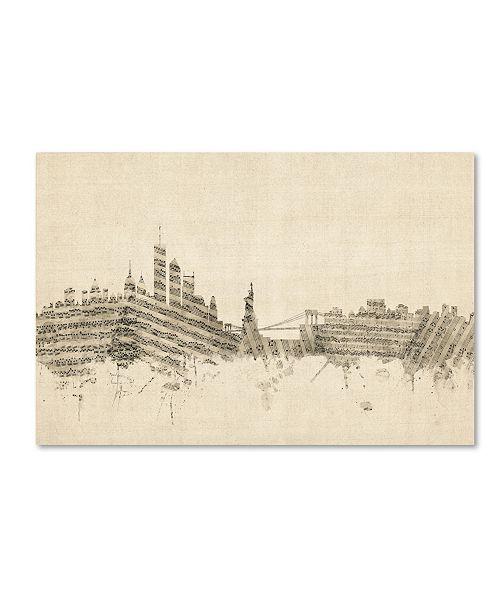 "Trademark Global Michael Tompsett 'New York Skyline Sheet Music II' Canvas Art - 12"" x 19"""